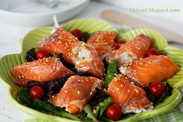 Cuinant rollitos de salm n ahumado aguacate y gambas - Ensalada de aguacate y salmon ahumado ...