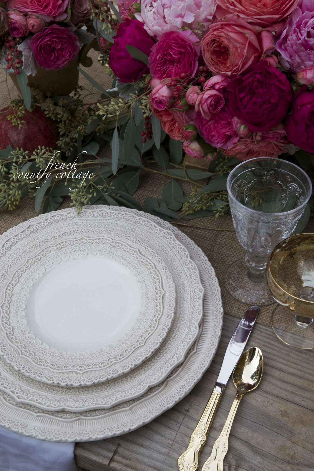 Romantic Thanksgiving table setting FRENCH COUNTRY