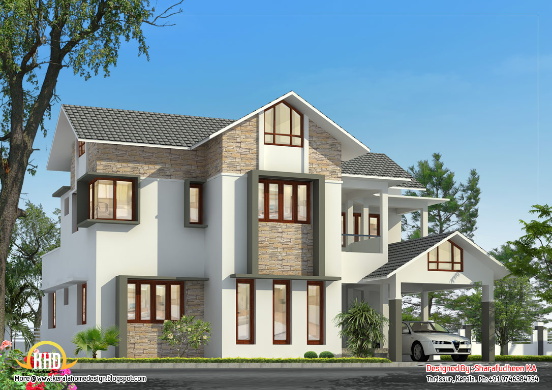 Beautiful sloping roof home design 2675 sq ft home for Sloped roof house plans in india