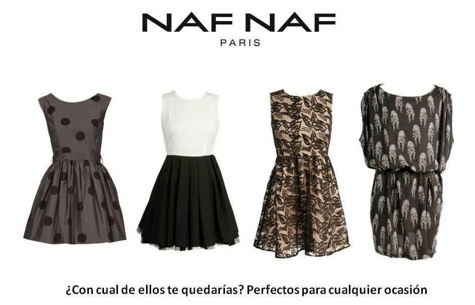 Vestido naf naf negro y blanco