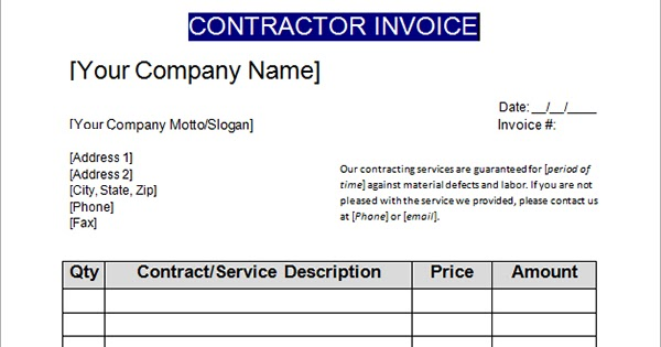 Contractor Invoice Template in simple Microsoft Word format Free – Contractor Receipt