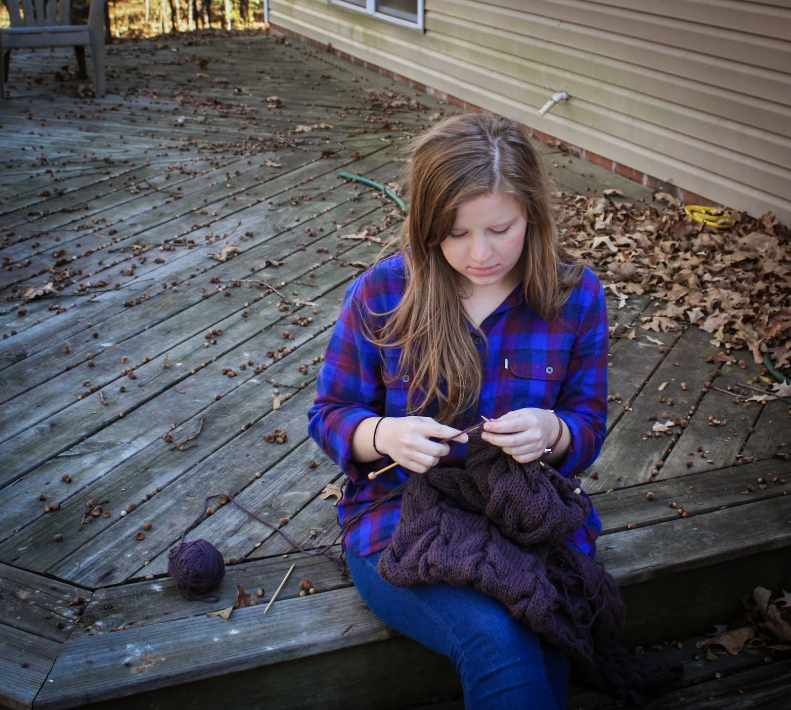 This is me knitting the scarf.