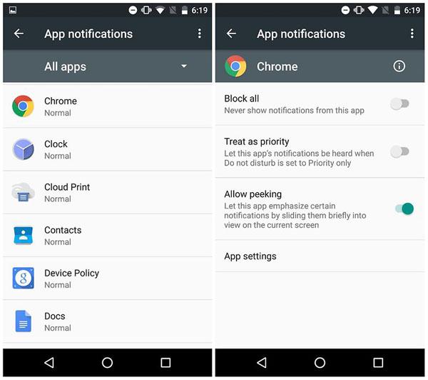Android Marshmallow Notification Peeking