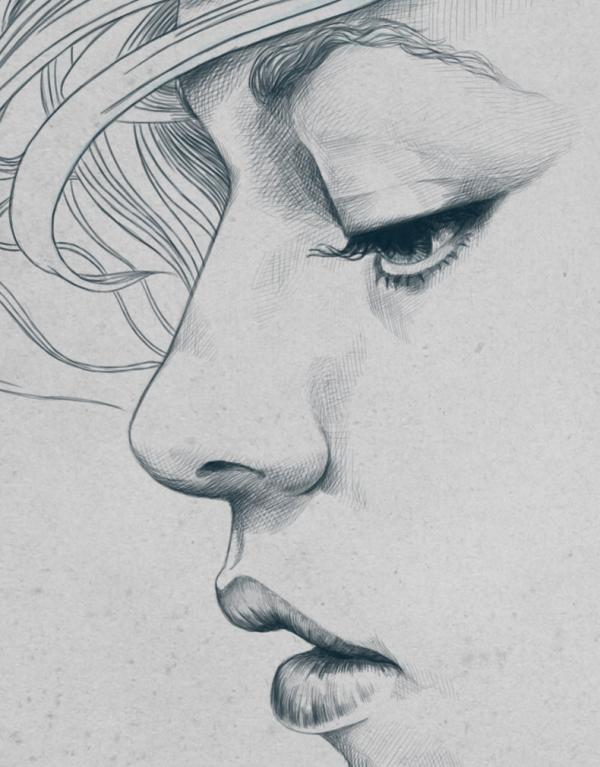 Line Drawing Face Profile : Pencil sketch of women zizing