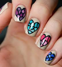 Nails Corações vitrais