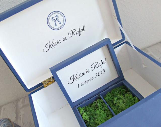 ślubne pudełka w stylu marynarskim Eco Manufaktura pudełko na obrączki i pudełko na koperty
