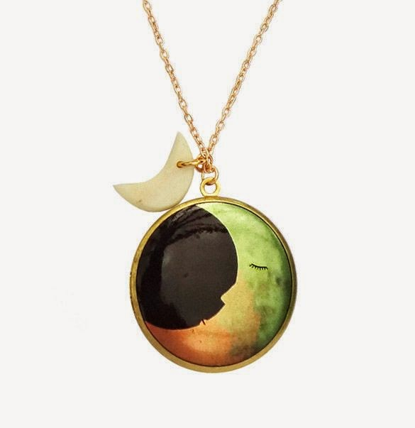 Two Moons Locket in Gold - Bonbi Forest - 25% Off Easter Sale