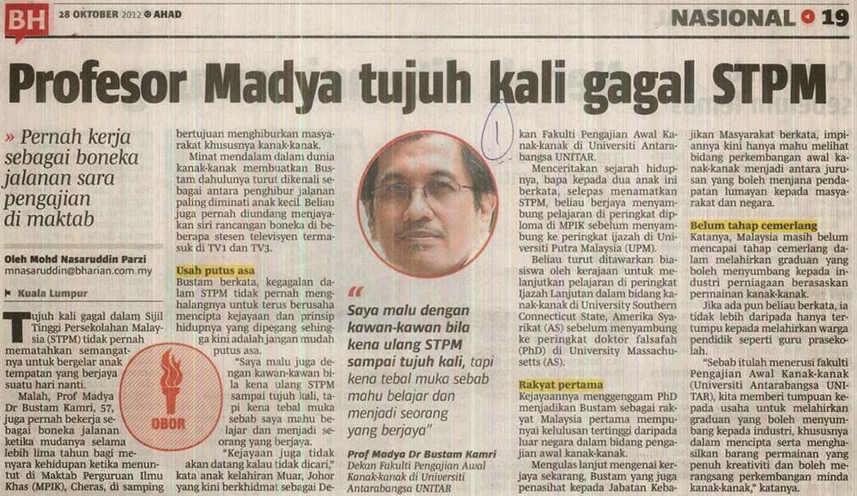 Profesor Madya Tujuh Kali Gagal STPM