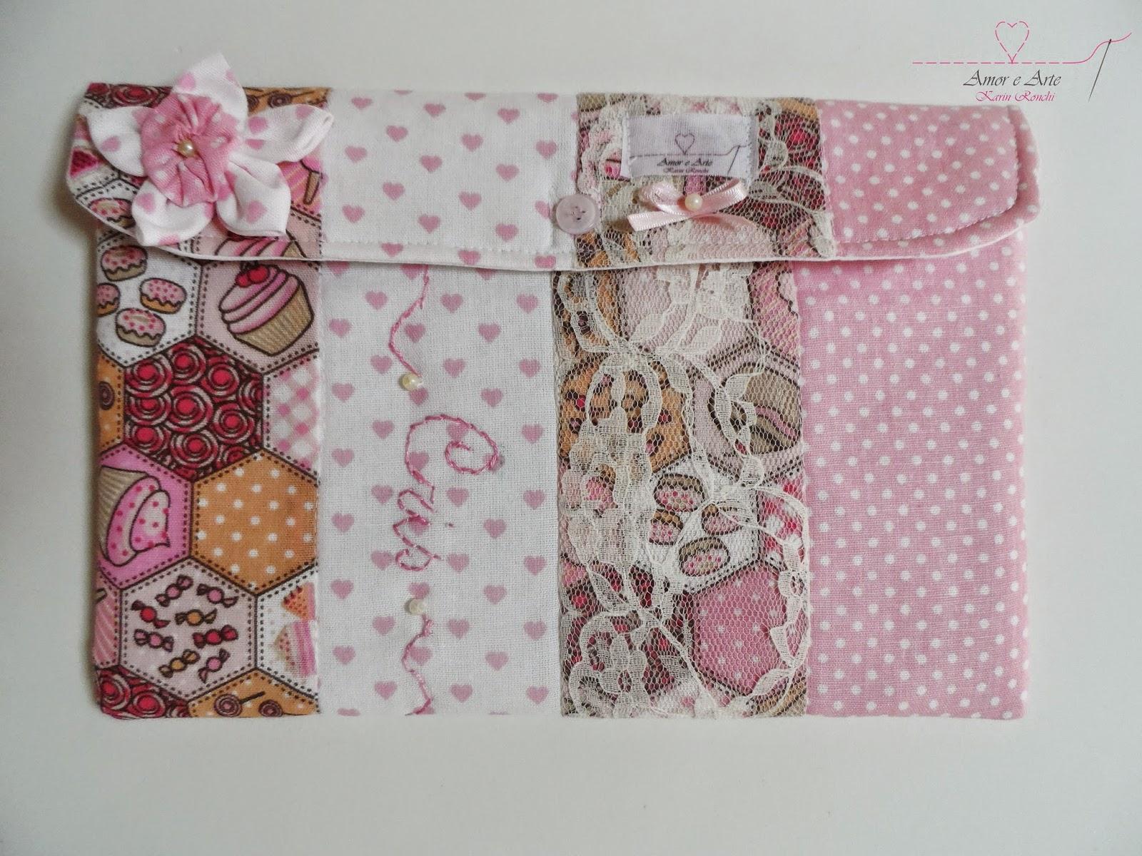 Case para Tablet 7 polegadas em tecido e personalizado, mix de estampa em cor de rosa