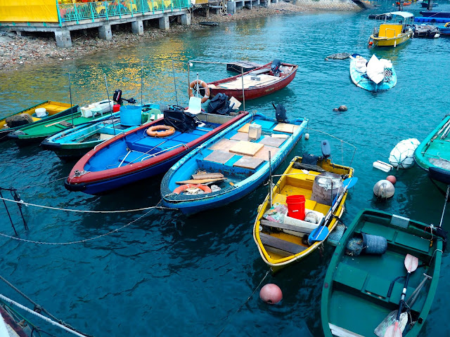 Colourful fishing boats in Sok Kwu Wan harbour, Lamma Island, Hong Kong