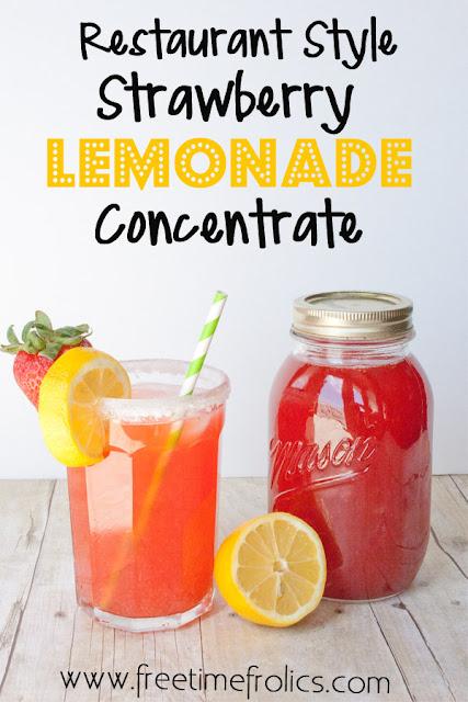 resaurant style strawberry lemonade concentrate recipe www.freetimefrolics.com #foodstorage