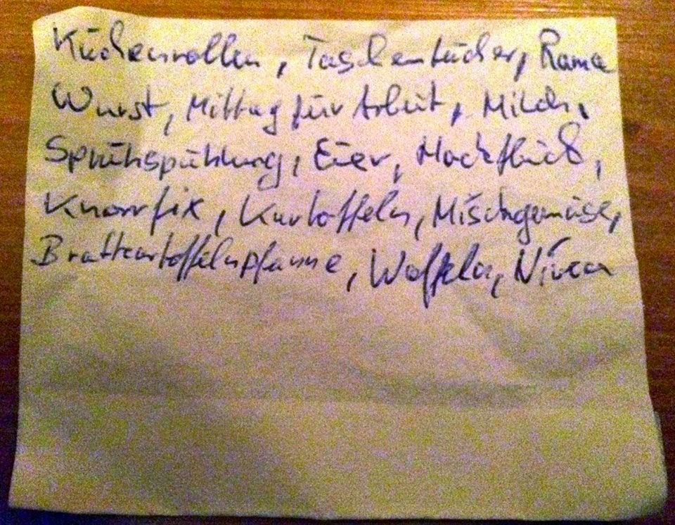 Der dritte Zettel - eine Einkaufsliste
