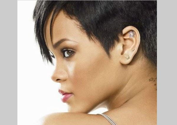 Rihanna star tattoo ear