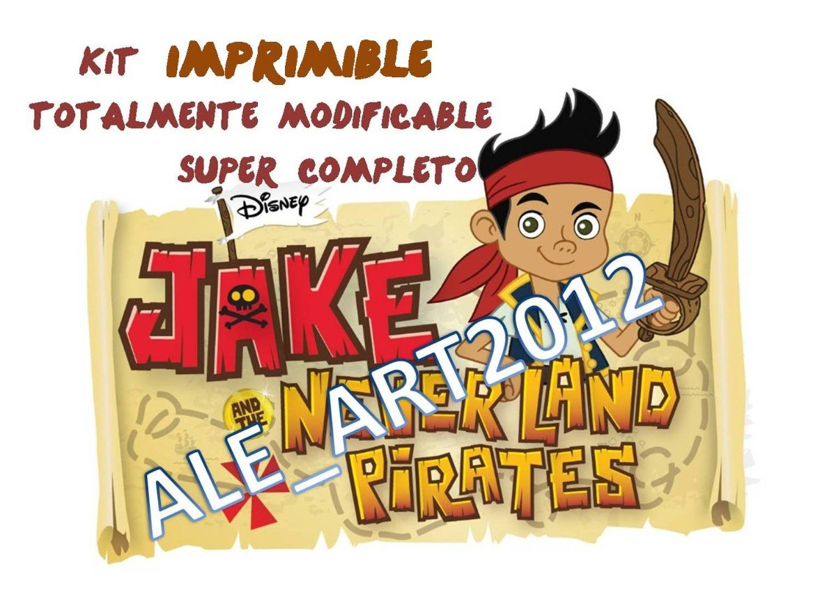 Mega Kit Imprimible Jake Y Los Piratas Con Candy Bar Para Personalizar