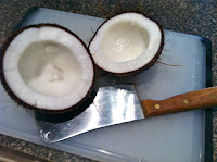 open coconut, coconut flesh, fresh coconut