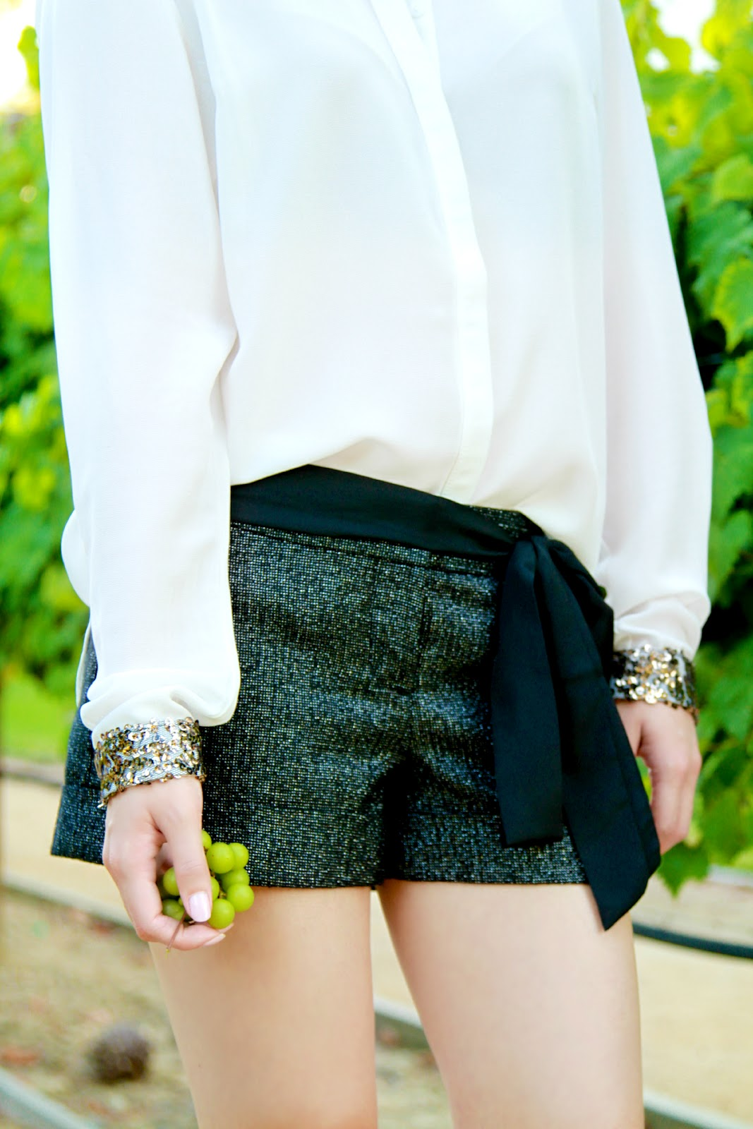 sequins and metallic shorts