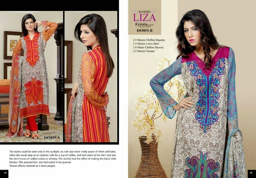 LIZA KRINKLE LAWN CHIFFON 2014 VOL 4 Eid Collection by Rashid Textiles