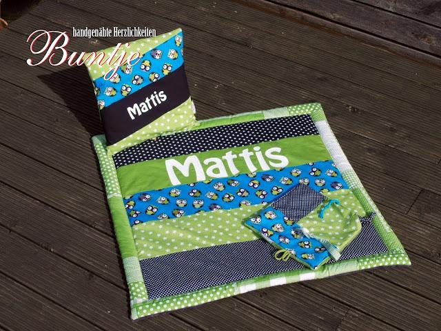 Krabbeldecke Decke Kuscheldecke Baby Name Geschenk Geburt Taufe persönlich personalisiert Junge Mattis blau türkis grün Eulen Namenskissen Kissen Schnuffeltuch Tuch handmade nähen Buntje
