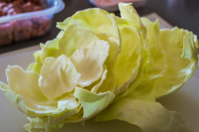 Leaves of cabbage for pork mince dumplings | Svelte Salivations