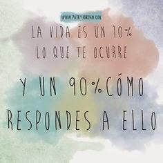La vida es 10% de lo que me ocurre y 90% de como reacciono a ello