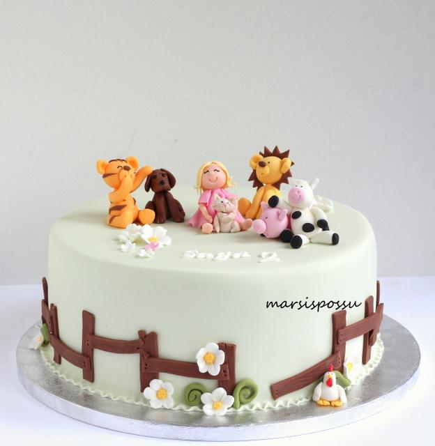 Eläinaiheinen kakku 2-vuotissynttäreille