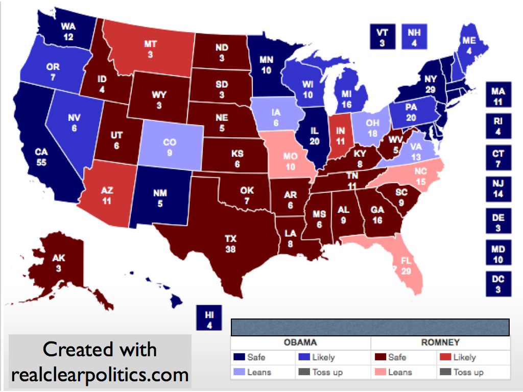 electoral map update ohio shifts to romney