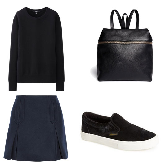 Black and blue cashmere sweater, leather kara backpack, navy blue skirt, superga calf hair slip on