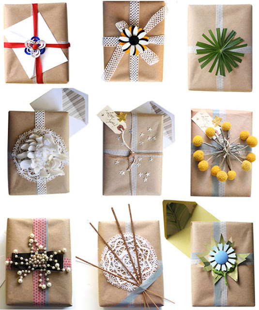 Burlap and brown paper gift wrap ideas crafts a la mode for How to wrap presents with wrapping paper