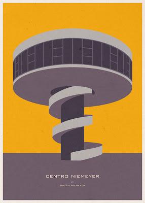 Centro Niemeyer - Oscar Niemeyer - Posters de Arquitectura Minimalistas de André Chiote