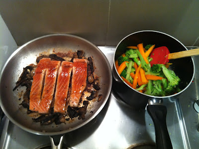 Southern Spoon blog: soy salmon with honey-ginger-chili glazed vegetables