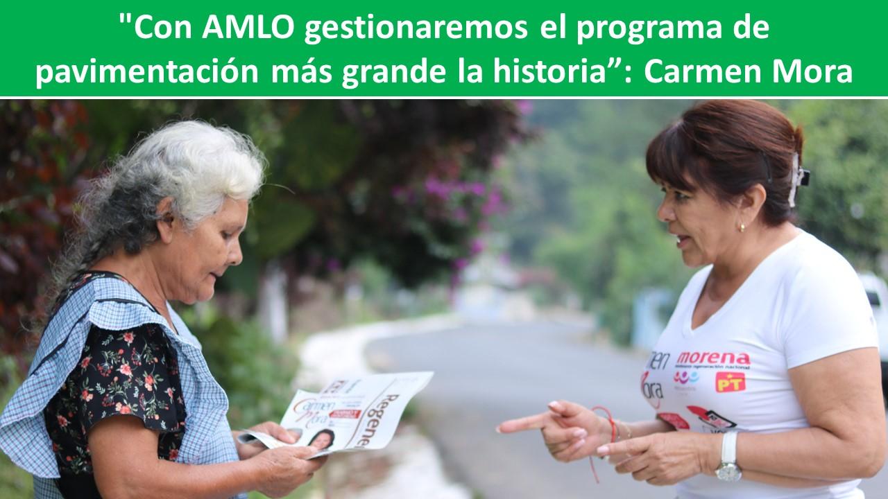 """programa de pavimentación más grande la historia"""": Carmen Mora"""