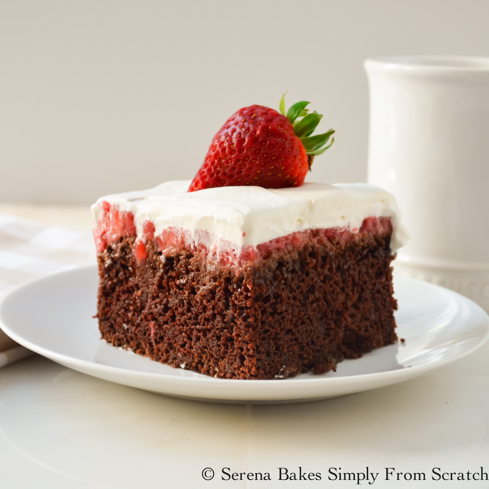 Chocolate Strawberry Poke Cake - Serena Bakes Simply From Scratch