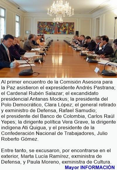 COLOMBIA: Presidente Santos entregó informe detallado de negociaciones a la Comisión Asesora para l