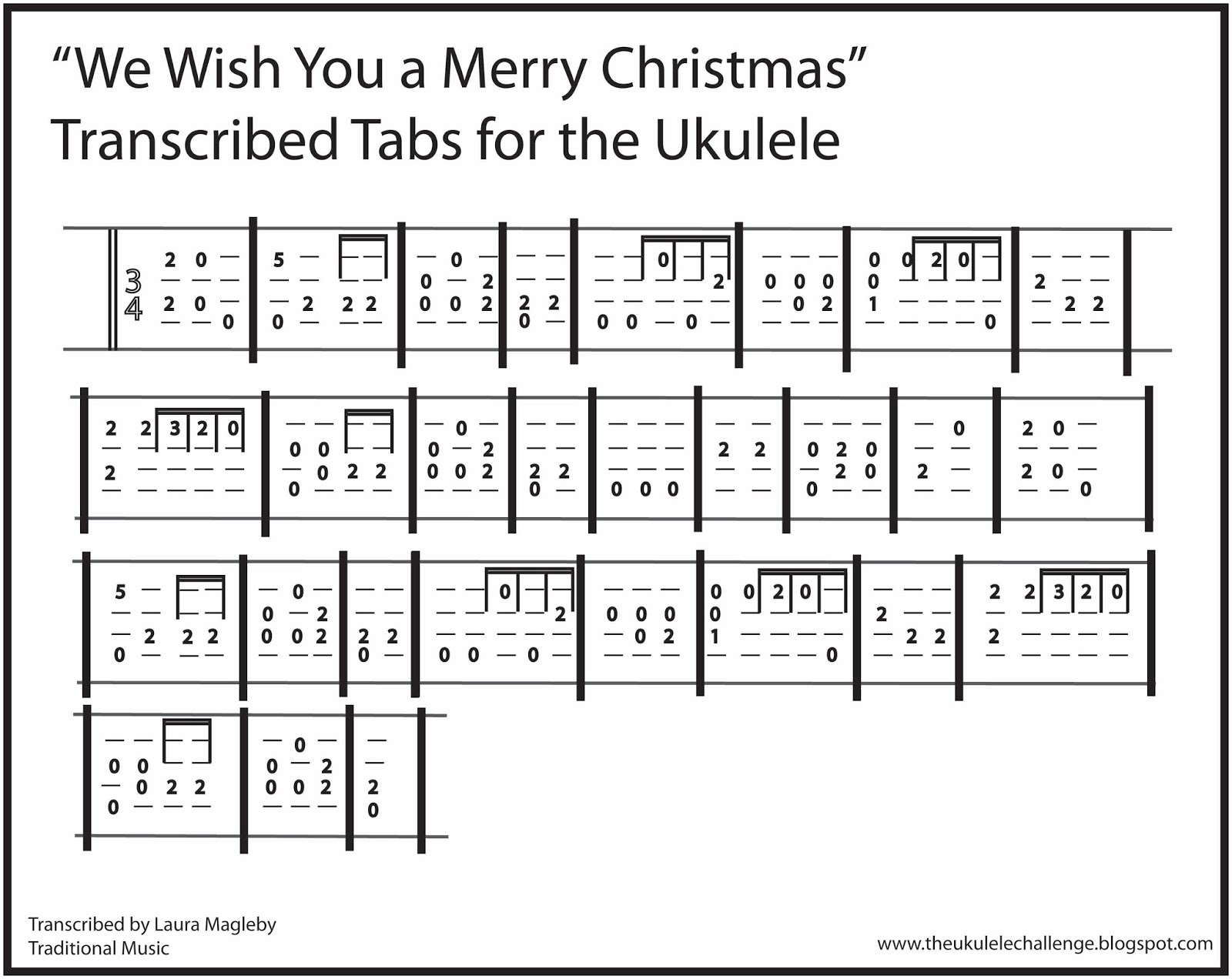The Ukulele Challenge: WE Wish you a Merry Christmas