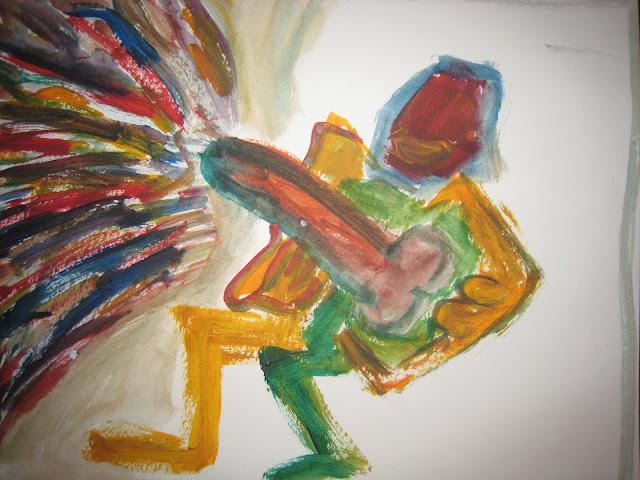 Pintura que muestra a un hombre masturbándose y consiguiendo una gran eyaculación, donde se concentran un mes de eyaculaciones al año, a tenor de seis diarias, obra de Emebezeta