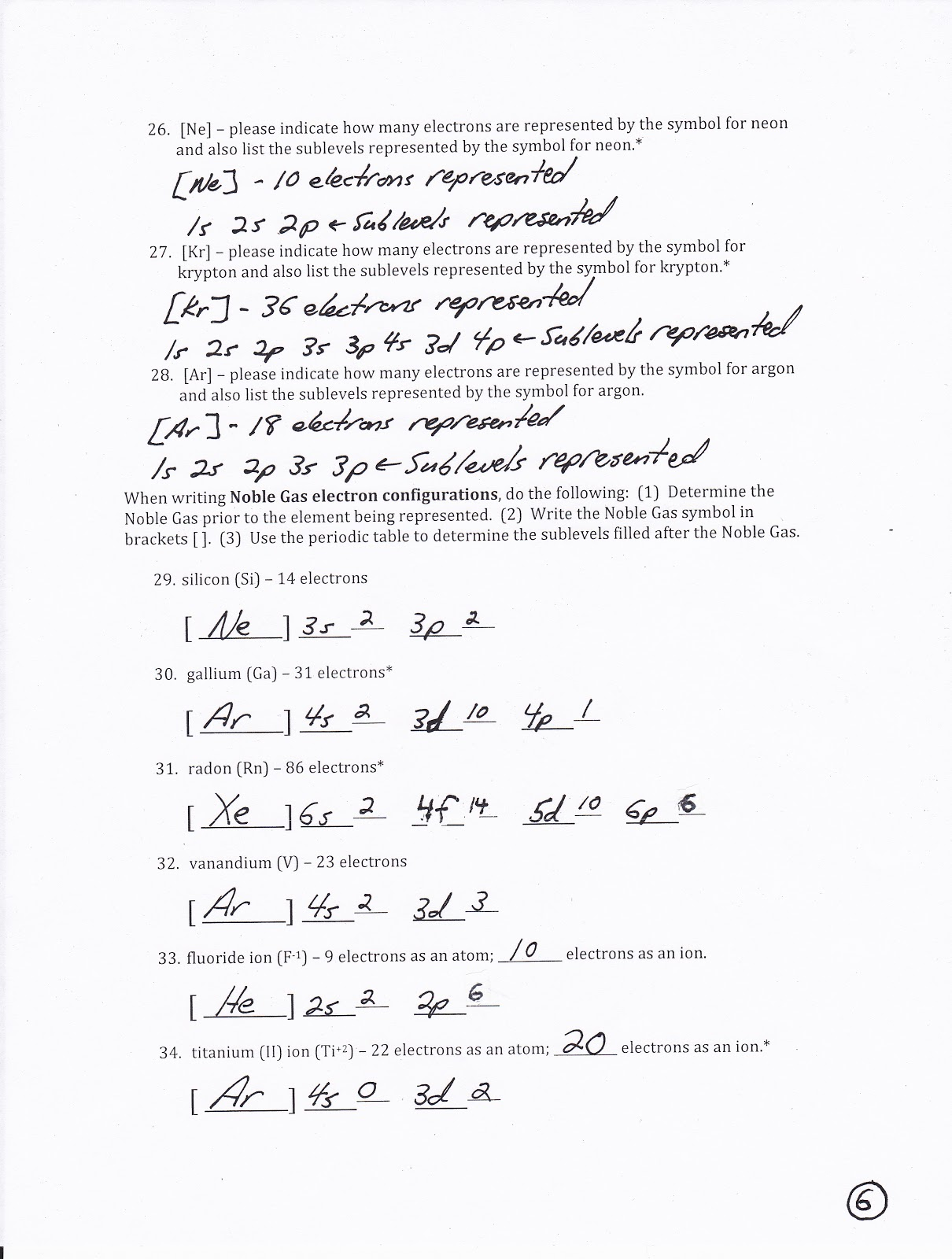 Electron configuration worksheet answers pogil