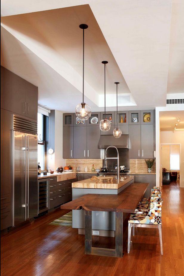modern live edge wood kitchen island