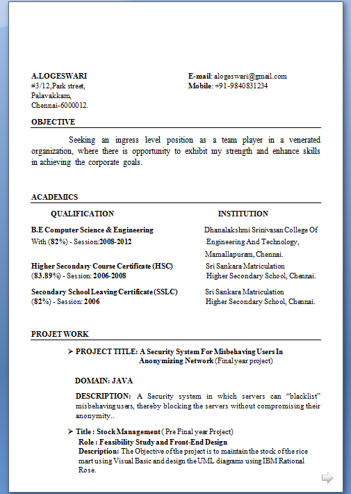 Example of model resume