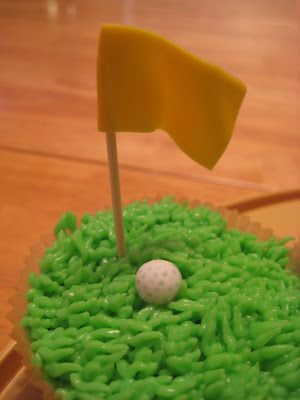 Golf Themed Cheesecake Brownie Cupcakes - Close Up View of Flag and Golf Ball 1