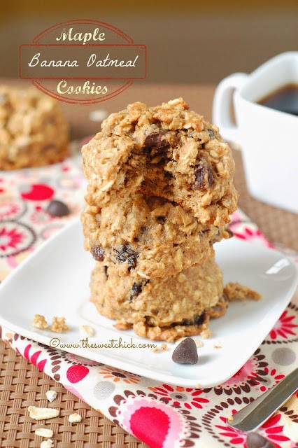 Maple Banana Oatmeal Cookies by The Sweet Chick