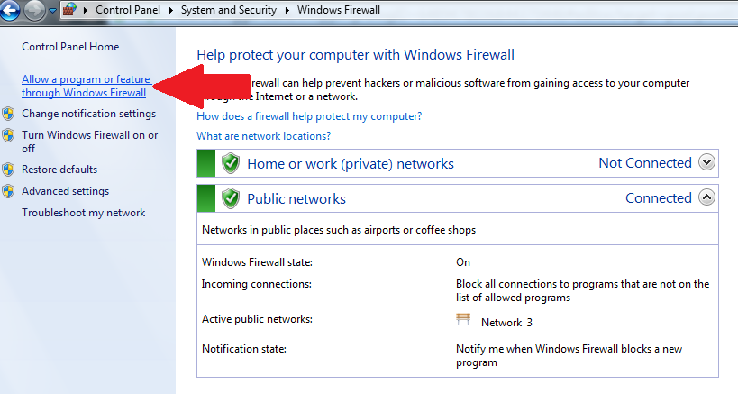 Allow a Program or Feature through Windows Firewall