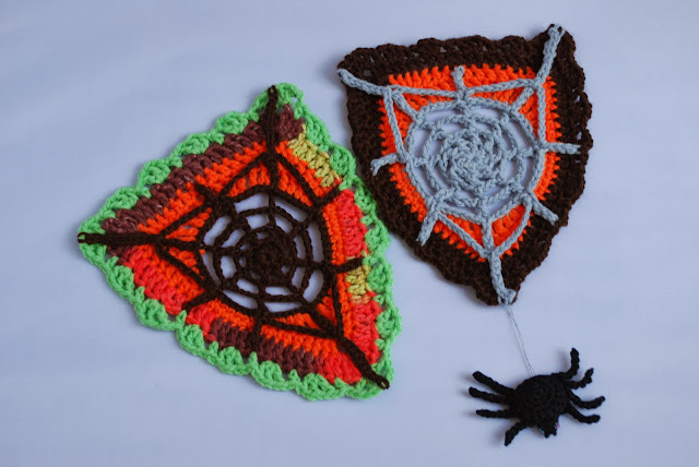image of crochet spider web bunting and spider