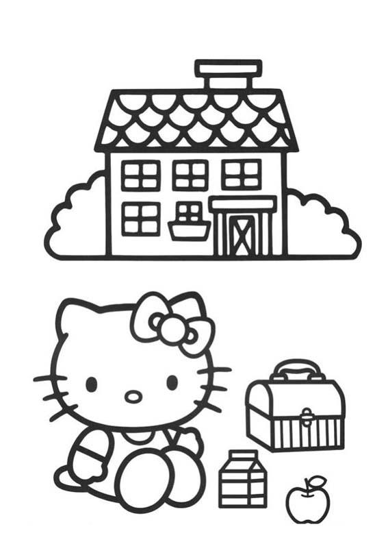 a desenhar Hello Kitty Na Escola colorir