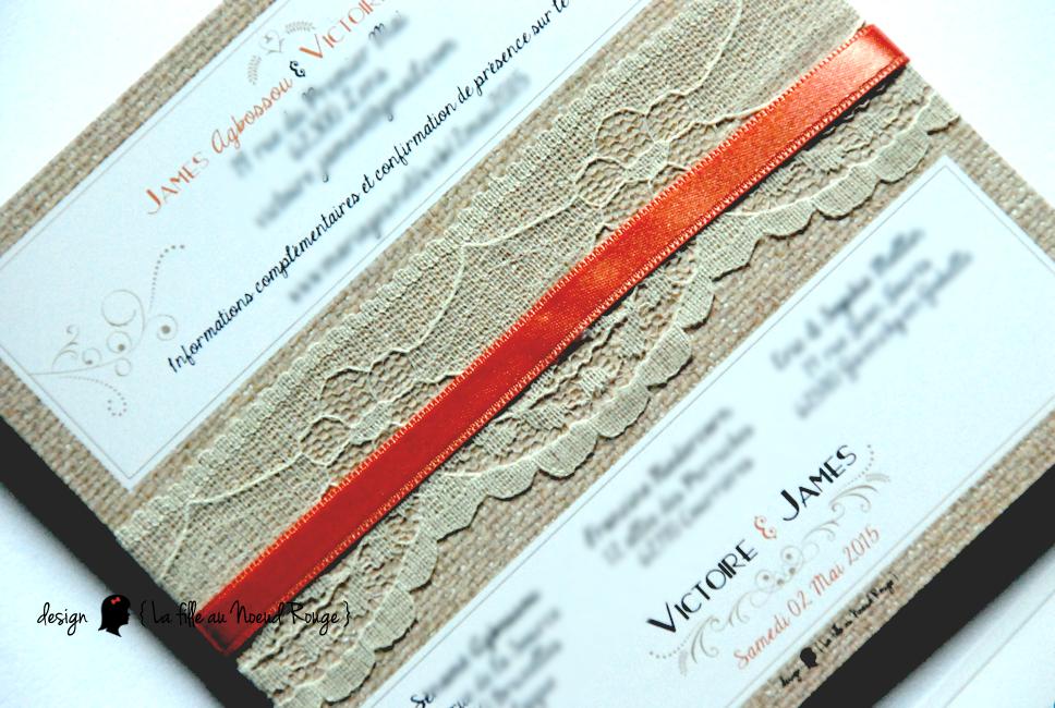 Célèbre Le faire-part de mariage dentelle & corail de Victoire & James  ZZ41