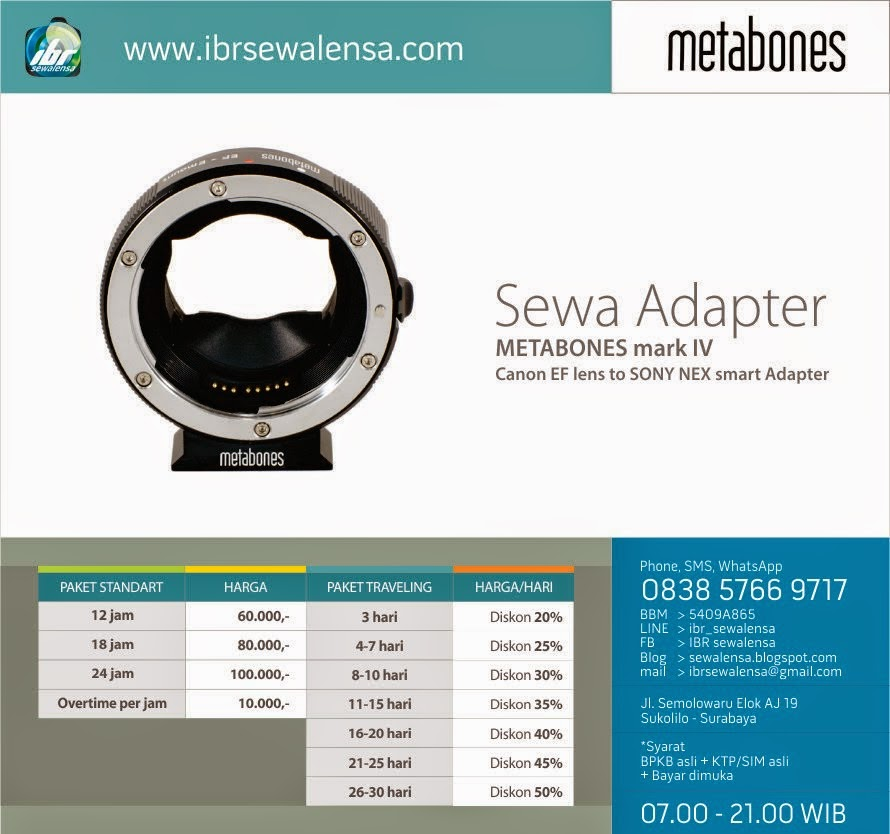 SEWA ADAPTER METABONES mark IV Canon EF to SONY NEX