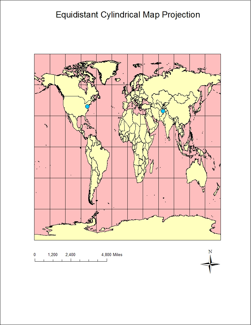 azimuthal equidistant map projection 8 341 miles equidistant cylindrical map projection 5 061 miles