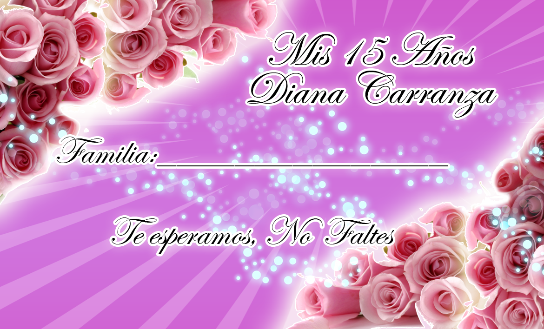 Tarjeta de Invitados para tus 15 y 16 Años en Morado Lila y Rosas ...