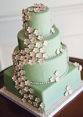 sage green wedding cake
