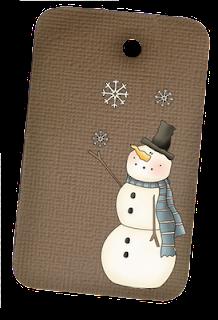 Primitive Snowman Hangtag