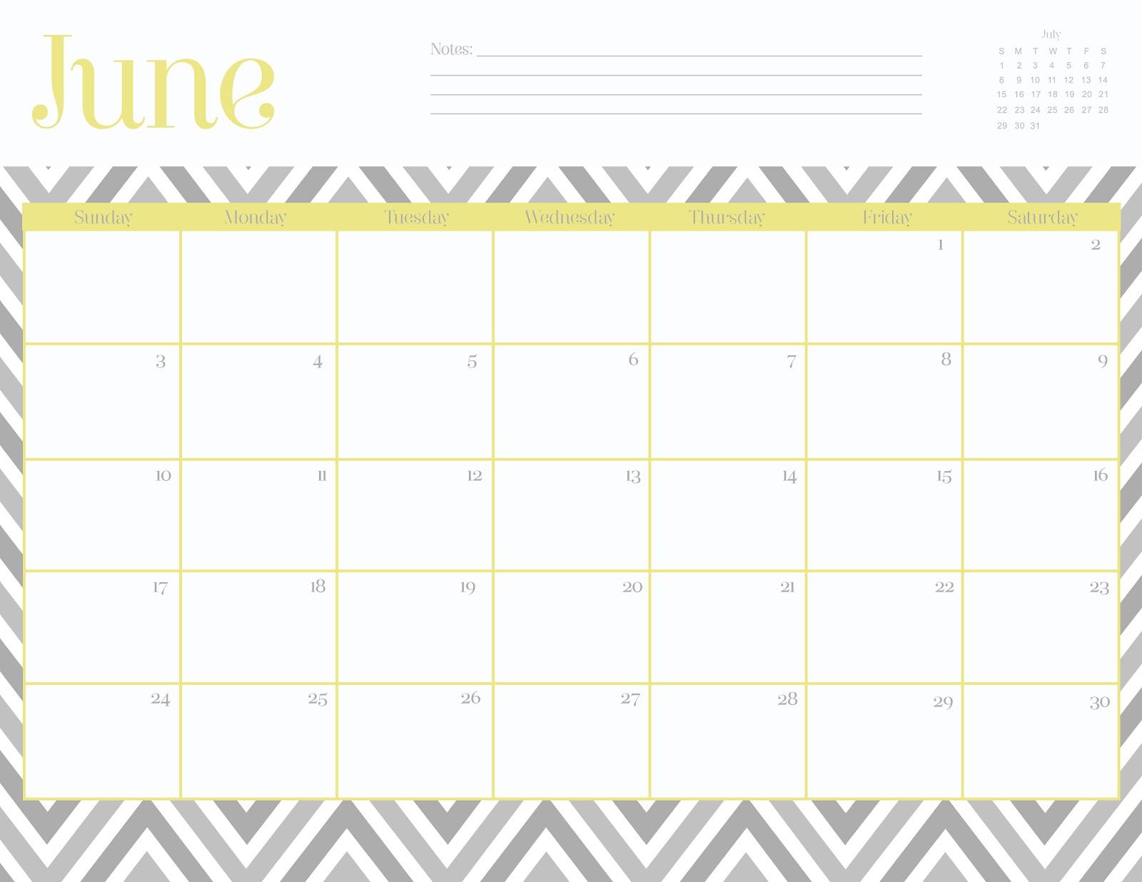 Free June 2012 Calendar Printables